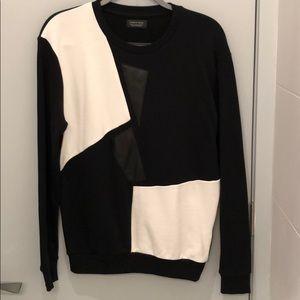 Zara Man Sweatshirt with Leather Appliqués
